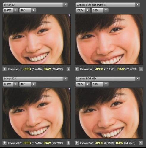 ISO 100 Nikon DF vs Canon 5DM3 dan Canon 6D pada skin tone warna terang