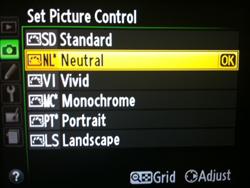Menu Picture Control
