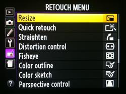 retouch menu
