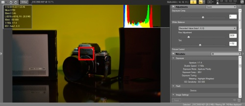 Metering Highlight - weighted berada di tengah, Focus point di tengah